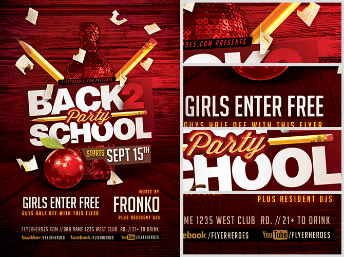 Back To School Party Flyer Template V7