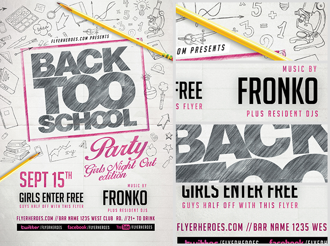 Back To School Party Flyer Template V10
