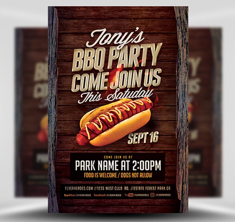 Tony BBQ Party Flyer Template