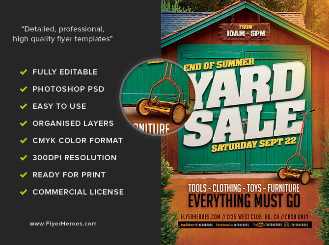 End Of Summer Yard Sale Flyer Template FlyerHeroes – Yard Sale Flyer Template