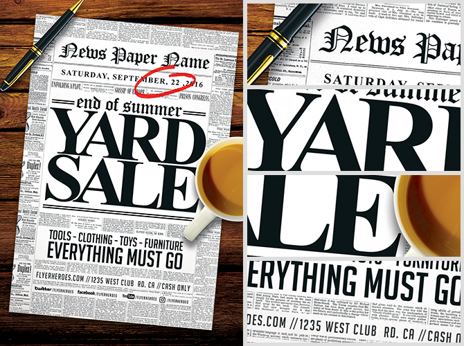 Read All About It! Yard Sale Flyer Template - Flyerheroes
