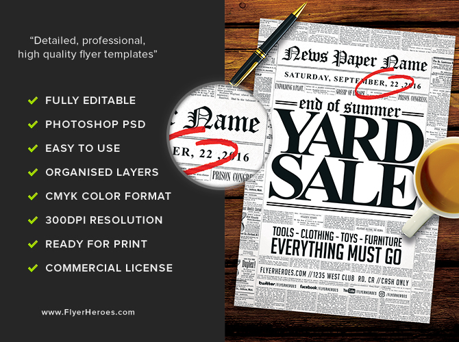Read all about it Yard Sale Flyer Template FlyerHeroes – Yard Sale Flyer Template