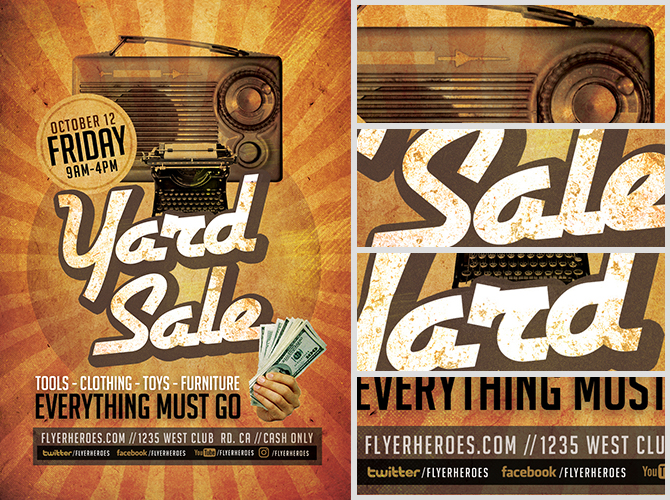 Retro Yard Sale Flyer Template - Flyerheroes