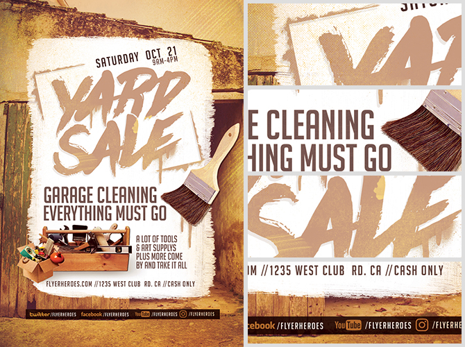 Spruce It Up Yard Sale Flyer Template  Flyerheroes