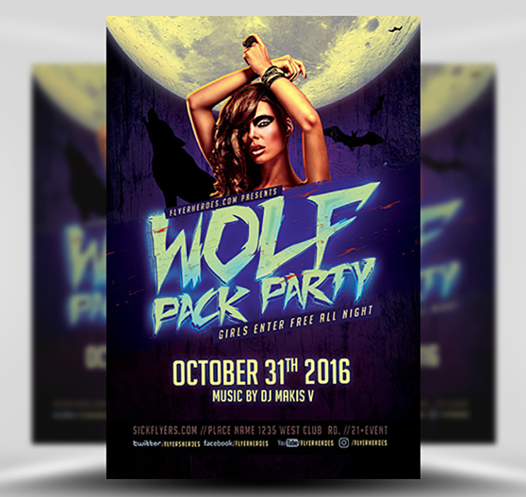 Halloween Wolf Pack Party Flyer Template - FlyerHeroes