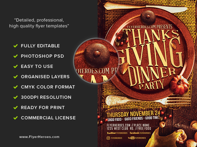 Thanksgiving Dinner Party Flyer Template  Flyerheroes