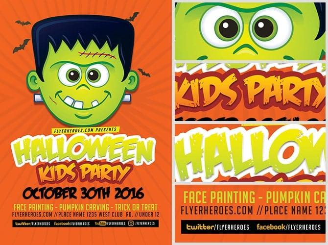 kids halloween party flyers