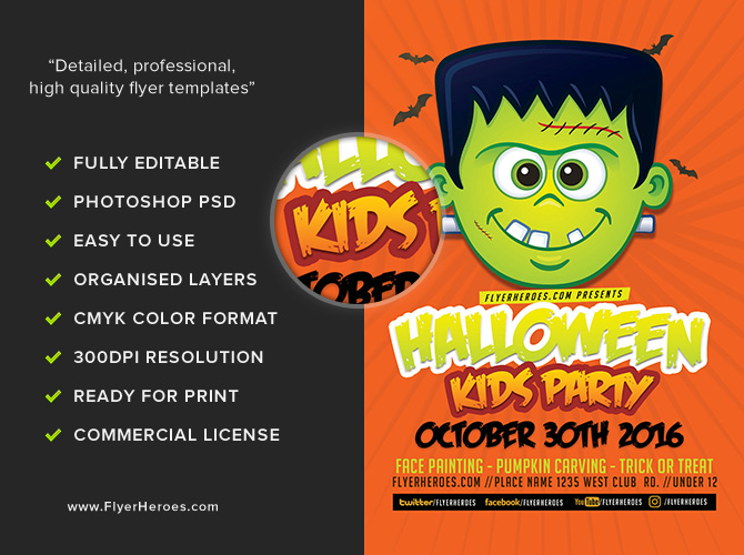toon halloween kids party flyer template flyerheroes. Black Bedroom Furniture Sets. Home Design Ideas