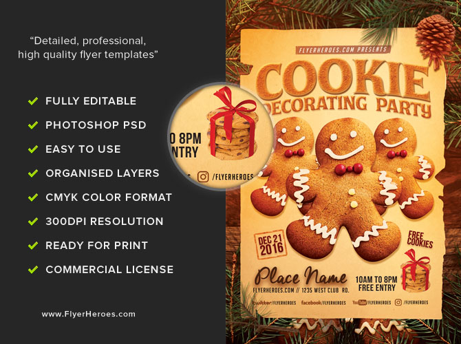 Cookie Decorating Party Flyer Template Flyerheroes