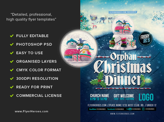 Orphan Christmas Dinner Flyer Template FlyerHeroes – Dinner Flyer