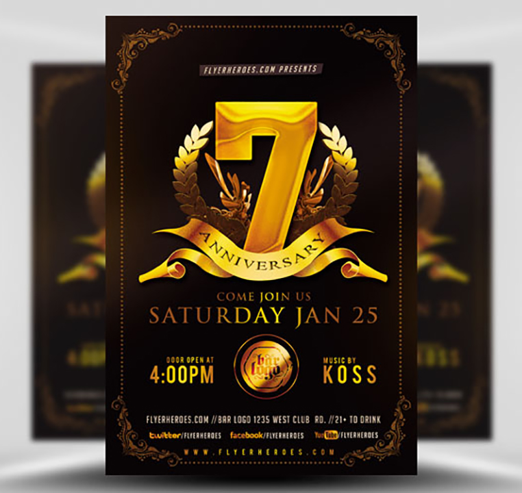 Business anniversary flyer template flyerheroes