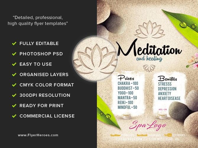 Meditation And Healing Spa Flyer Template Flyerheroes
