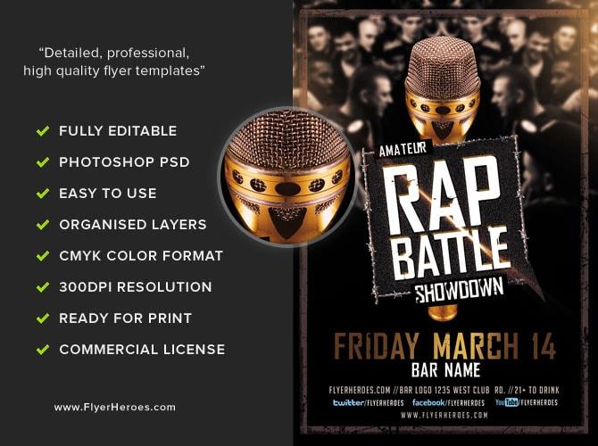 Rap Battle Showdown Flyer Template FlyerHeroes – Showdown Flyer Template