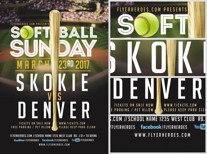Softball Sunday Flyer Template - FlyerHeroes