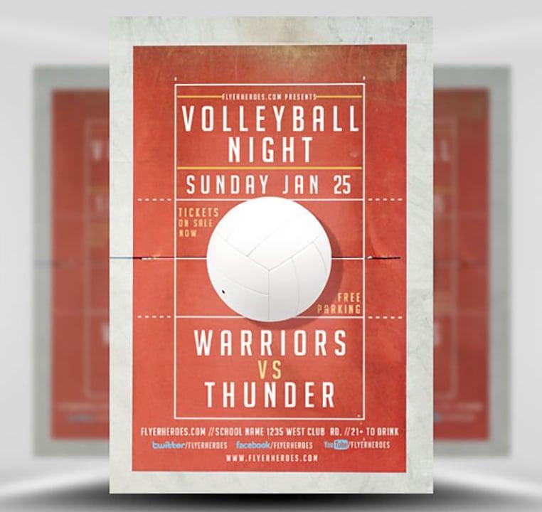 volleyball night flyer template flyerheroes. Black Bedroom Furniture Sets. Home Design Ideas