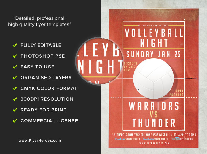 Volleyball Night Flyer Template  Flyerheroes
