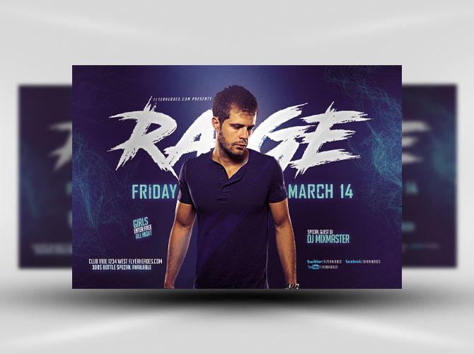 Blue Rage Party Flyer Template - Flyerheroes