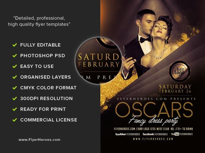 Oscars Fancy Dress Party Flyer Template V2 FlyerHeroes – Party Flyer Template