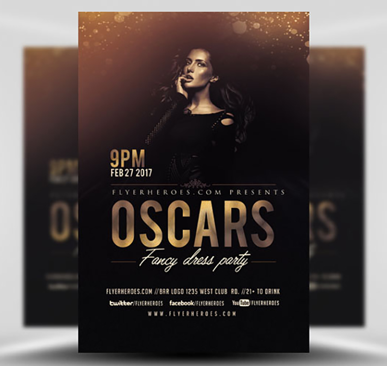 Oscars Fancy Dress Party Flyer Template V3 Flyerheroes