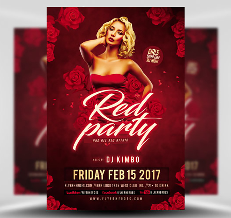 Valentines Red Party Flyer Template  Flyerheroes
