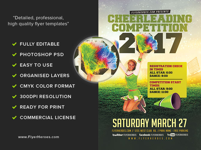 Cheerleading Competition 2017 Flyer Template FlyerHeroes – Competition Flyer Template