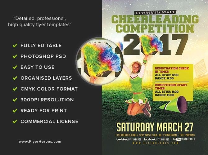 Cheerleading Compeion 2017 Flyer Template