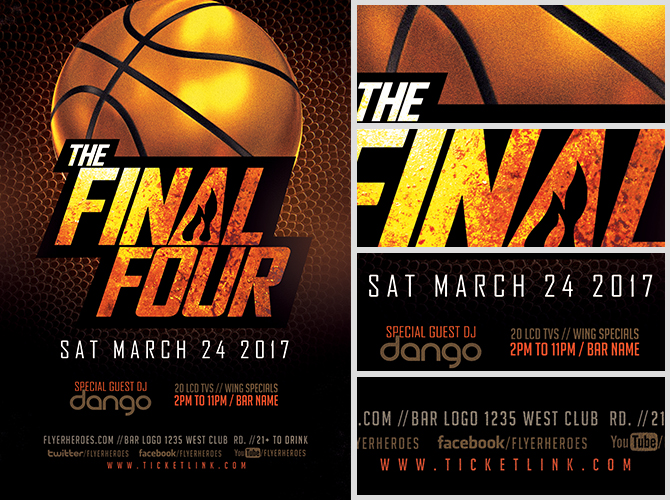 The Final Four Basketball Flyer Template - FlyerHeroes