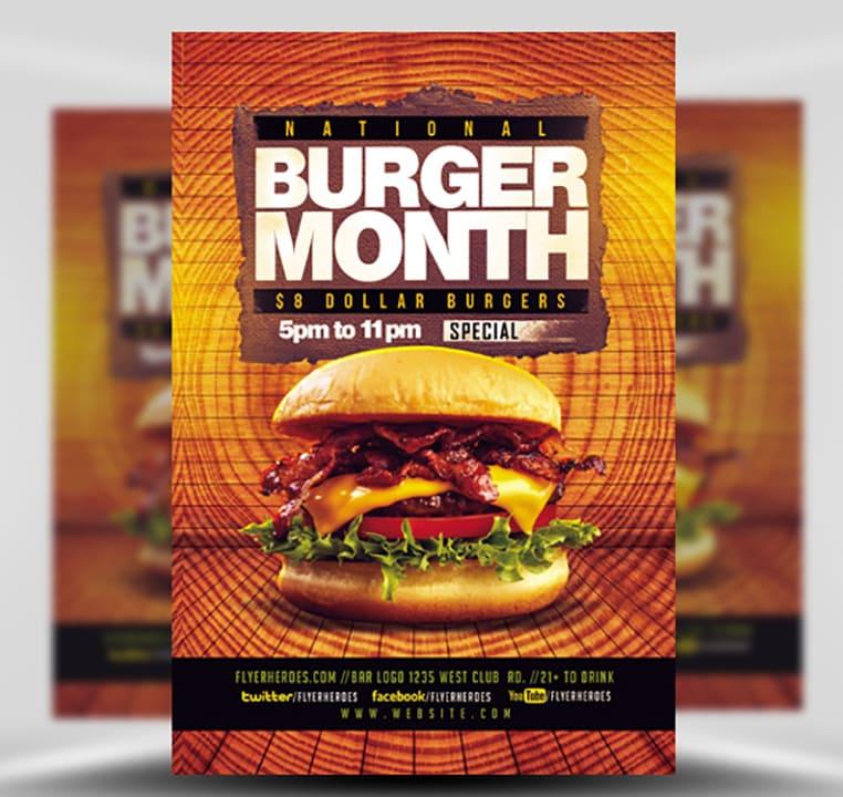 burger month flyer template flyerheroes