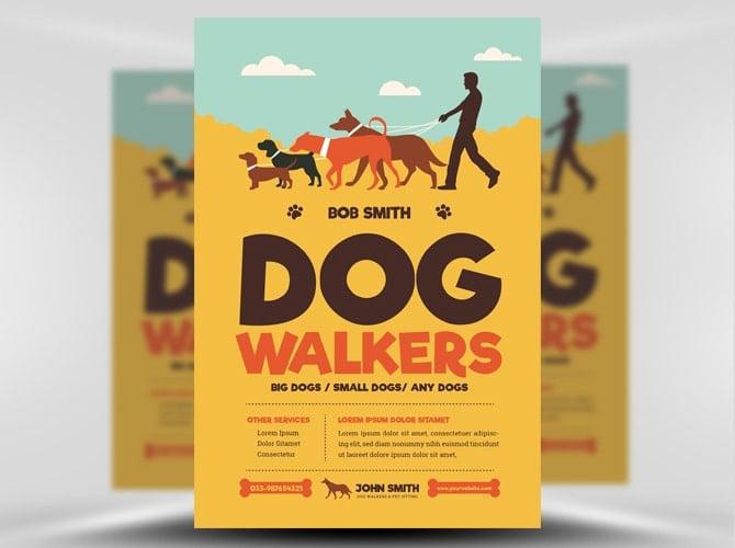Dog Walkers Flyer Template Flyerheroes