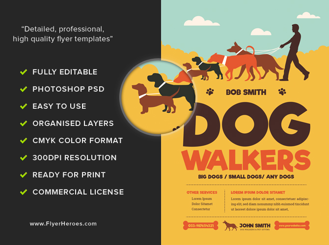 Dog walkers flyer template flyerheroes for Dog walking flyer template free