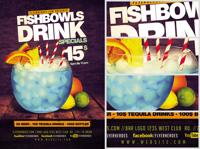 fish bowl and drink flyer template flyerheroes. Black Bedroom Furniture Sets. Home Design Ideas