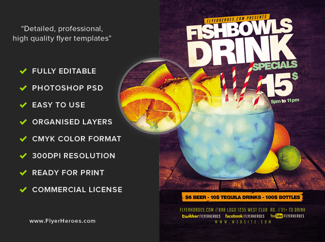 Fish bowl and drink flyer template flyerheroes for Fish bowl drinks near me