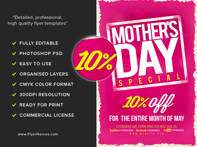pro exclusive mother 39 s day special flyer template flyerheroes. Black Bedroom Furniture Sets. Home Design Ideas