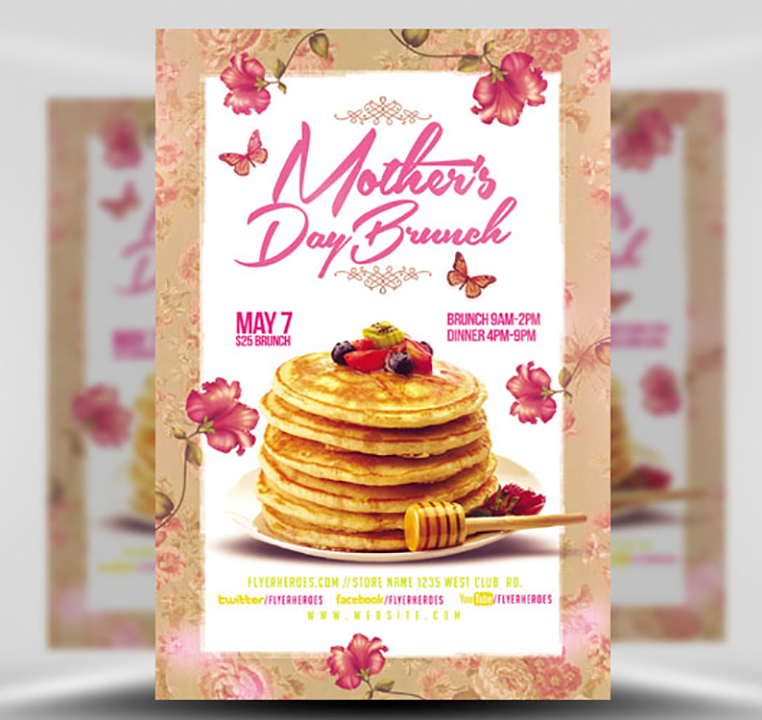 Mothers Day Lunch Flyer Psd Template: Mothers Day Brunch Flyer Template