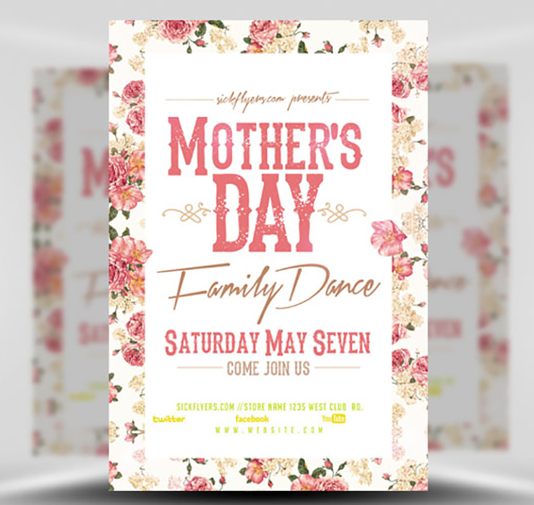 Mother's Day Family Dance Flyer Template