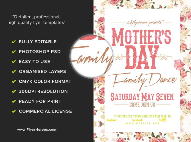 Mother'S Day Family Dance Flyer Template - Flyerheroes