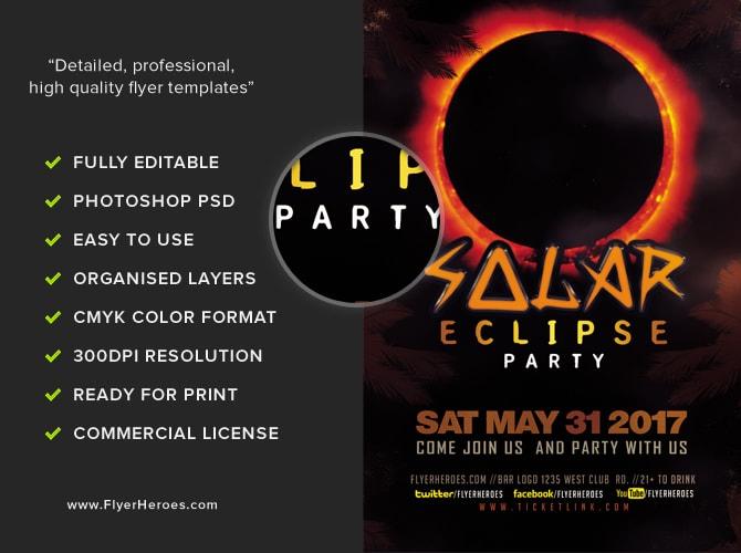 Solar Eclipse Party Flyer Template - FlyerHeroes