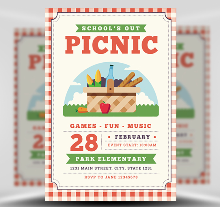 school u0026 39 s out picnic flyer template