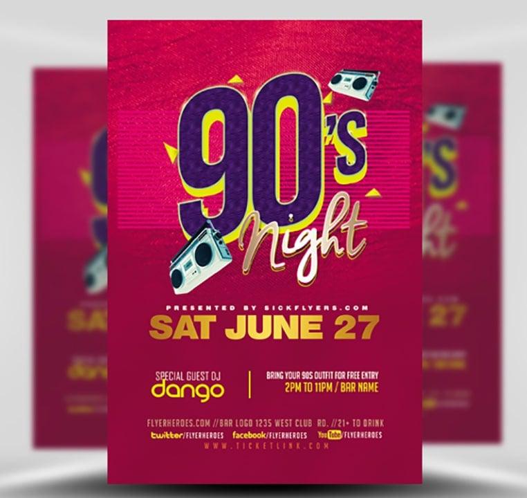 90s Party Flyer Template - FlyerHeroes