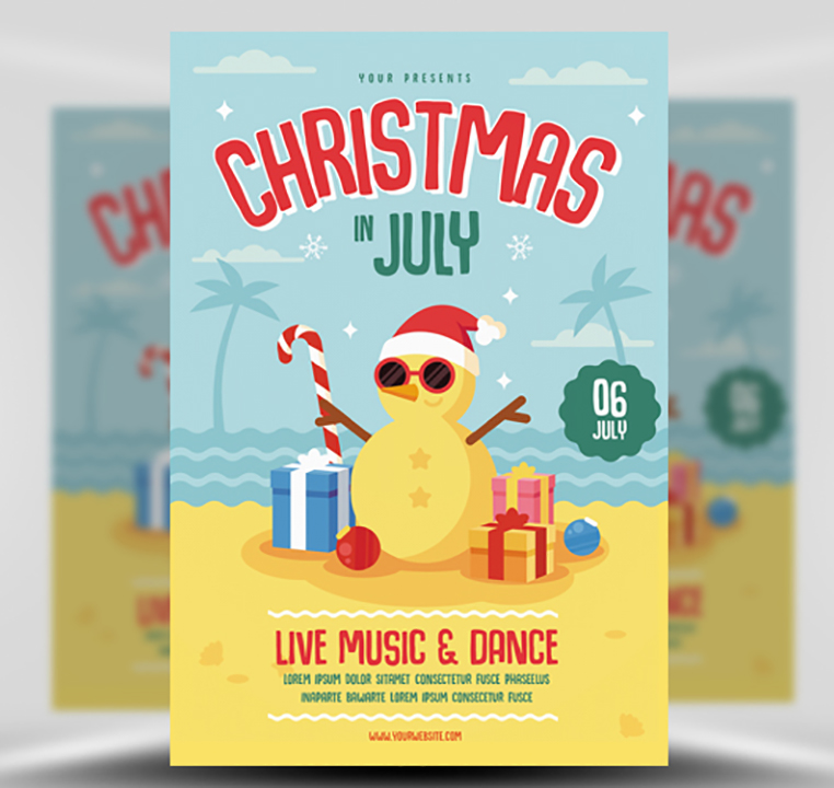 Christmas In July Flyer Template - FlyerHeroes