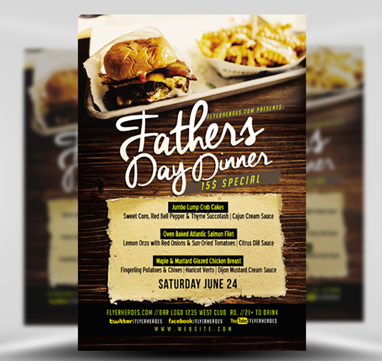 Father's Day Dinner Flyer Template