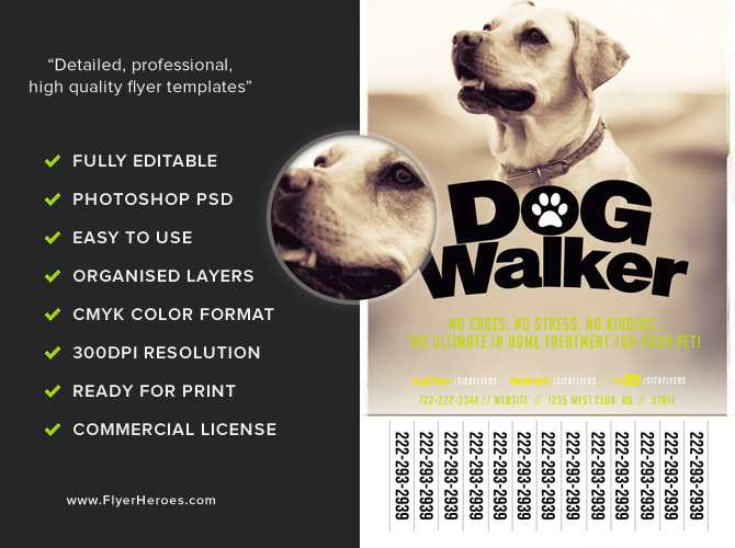 Professional dog walker flyer template flyerheroes for Dog walking flyer template free