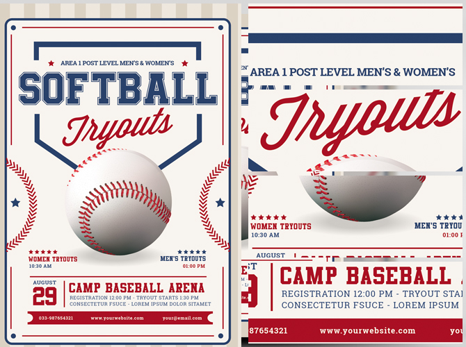 softball tryouts flyer template flyerheroes. Black Bedroom Furniture Sets. Home Design Ideas