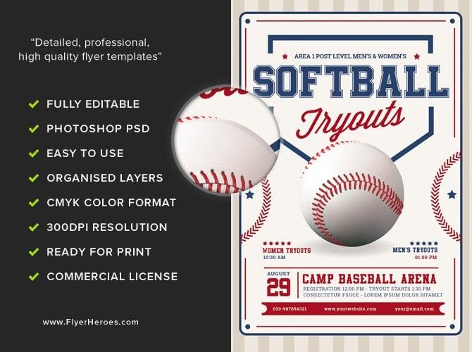 Softball Tryouts Flyer Template  Flyerheroes