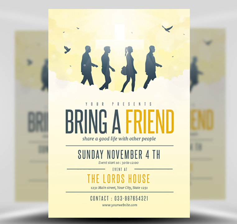 Bring A Friend To Church Flyer Template