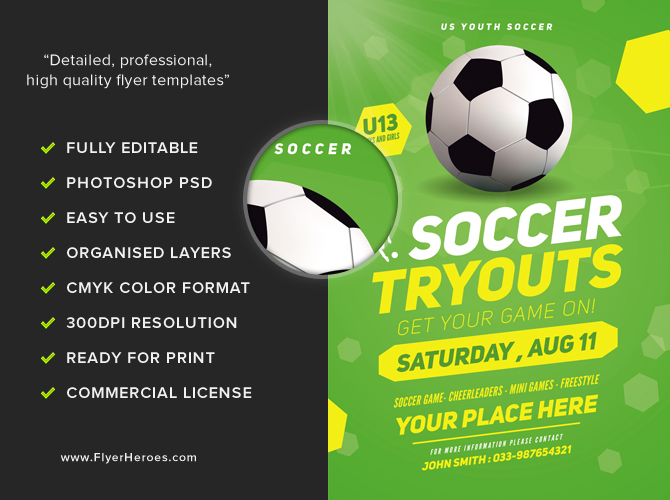 Free Soccer Flyer Template | soccer tryout FH 3
