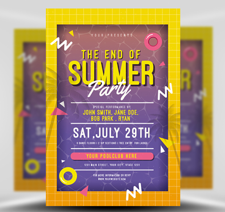 End Of Summer Pool Party Flyer Template Flyerheroes