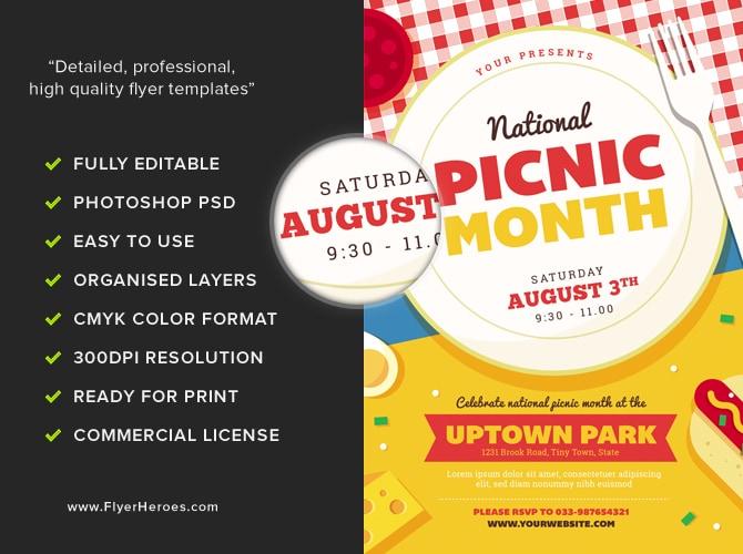 national picnic month flyer template flyerheroes. Black Bedroom Furniture Sets. Home Design Ideas