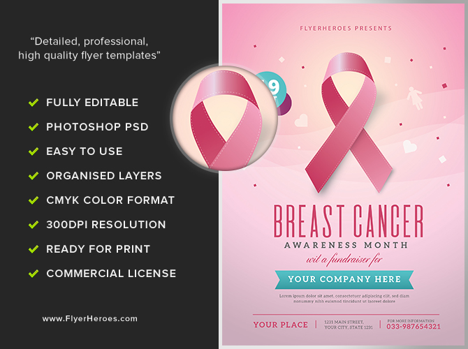 T Cancer Awareness Month Flyer Template