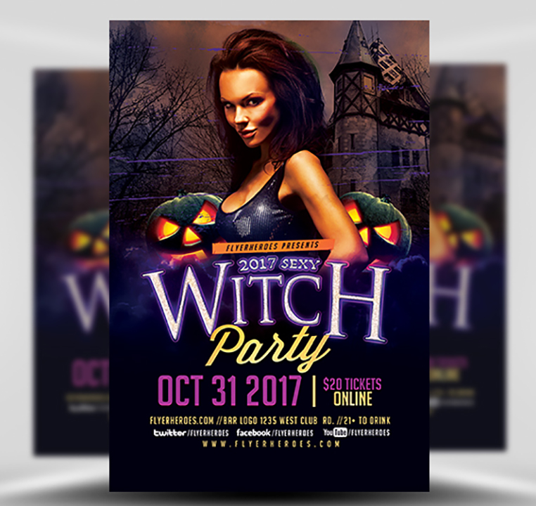 witches are out halloween flyerheroes